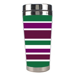 Purple Green Stripes Stainless Steel Travel Tumblers by BrightVibesDesign
