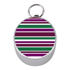 Purple Green Stripes Mini Silver Compasses by BrightVibesDesign