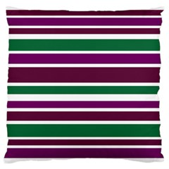 Purple Green Stripes Standard Flano Cushion Case (two Sides) by BrightVibesDesign