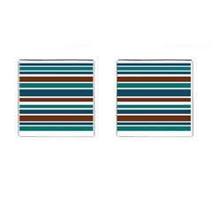 Teal Brown Stripes Cufflinks (square) by BrightVibesDesign