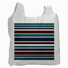 Teal Brown Stripes Recycle Bag (one Side) by BrightVibesDesign