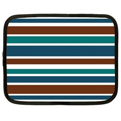 Teal Brown Stripes Netbook Case (xl)  by BrightVibesDesign