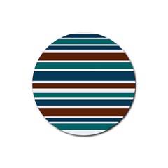 Teal Brown Stripes Rubber Coaster (round)  by BrightVibesDesign