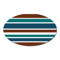 Teal Brown Stripes Oval Magnet by BrightVibesDesign