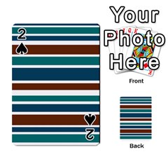 Teal Brown Stripes Playing Cards 54 Designs