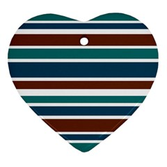 Teal Brown Stripes Heart Ornament (2 Sides) by BrightVibesDesign