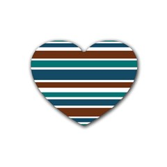 Teal Brown Stripes Rubber Coaster (heart)  by BrightVibesDesign