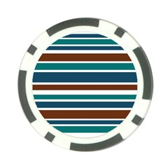 Teal Brown Stripes Poker Chip Card Guards (10 Pack)  by BrightVibesDesign