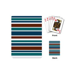 Teal Brown Stripes Playing Cards (mini)  by BrightVibesDesign
