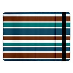 Teal Brown Stripes Samsung Galaxy Tab Pro 12 2  Flip Case by BrightVibesDesign