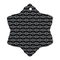 Black White Tiki Pattern Snowflake Ornament (2 Side) by BrightVibesDesign