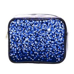 Blue Glitter Rain Mini Toiletries Bags