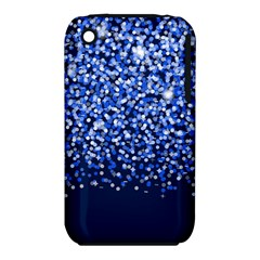 Blue Glitter Rain Apple Iphone 3g/3gs Hardshell Case (pc+silicone) by KirstenStar