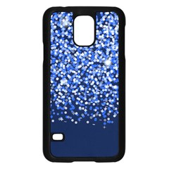 Blue Glitter Rain Samsung Galaxy S5 Case (black) by KirstenStar