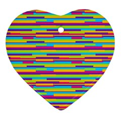 Colorful Stripes Background Ornament (heart)  by TastefulDesigns