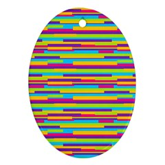 Colorful Stripes Background Oval Ornament (two Sides) by TastefulDesigns