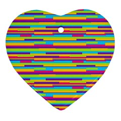 Colorful Stripes Background Heart Ornament (2 Sides) by TastefulDesigns
