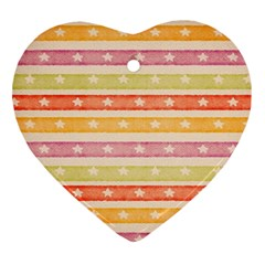 Watercolor Stripes Background With Stars Heart Ornament (2 Sides) by TastefulDesigns