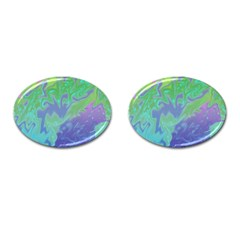 Green Blue Pink Color Splash Cufflinks (oval) by BrightVibesDesign