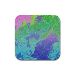 Green Blue Pink Color Splash Rubber Coaster (square)  by BrightVibesDesign