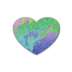 Green Blue Pink Color Splash Rubber Coaster (heart)  by BrightVibesDesign