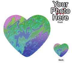 Green Blue Pink Color Splash Multi Purpose Cards (heart)  by BrightVibesDesign