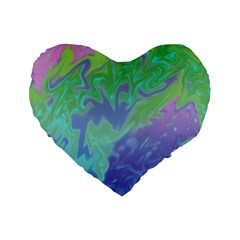 Green Blue Pink Color Splash Standard 16  Premium Flano Heart Shape Cushions by BrightVibesDesign
