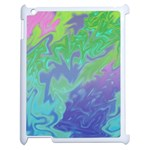 Green Blue Pink Color Splash Apple iPad 2 Case (White) Front