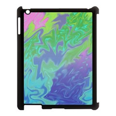 Green Blue Pink Color Splash Apple Ipad 3/4 Case (black) by BrightVibesDesign