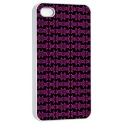Pink Black Retro Tiki Pattern Apple Iphone 4/4s Seamless Case (white) by BrightVibesDesign