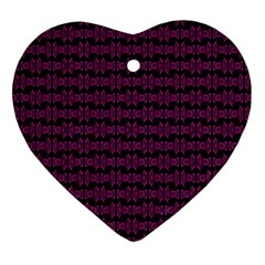 Pink Black Retro Tiki Pattern Heart Ornament (2 Sides) by BrightVibesDesign