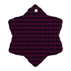 Pink Black Retro Tiki Pattern Snowflake Ornament (2 Side) by BrightVibesDesign