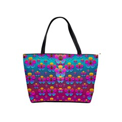 Freedom Peace Flowers Raining In Rainbows Shoulder Handbags by pepitasart