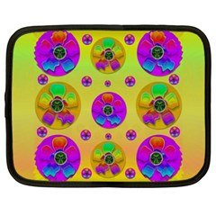 Floral Love And Why Not In Neon Netbook Case (xxl)  by pepitasart