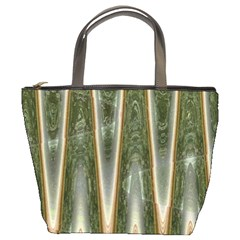 Green Brown Zigzag Bucket Bags by BrightVibesDesign