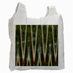 Green Brown Zigzag Recycle Bag (one Side) by BrightVibesDesign