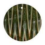 Green Brown Zigzag Ornament (Round)  Front
