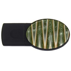 Green Brown Zigzag Usb Flash Drive Oval (2 Gb)  by BrightVibesDesign