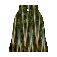 Green Brown Zigzag Bell Ornament (2 Sides) by BrightVibesDesign