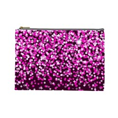 Pink Glitter Rain Cosmetic Bag (large)  by KirstenStar
