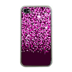 Pink Glitter Rain Apple Iphone 4 Case (clear) by KirstenStar