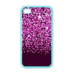Pink Glitter Rain Apple Iphone 4 Case (color) by KirstenStar