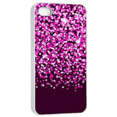 Pink Glitter Rain Apple Iphone 4/4s Seamless Case (white) by KirstenStar