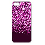 Pink Glitter Rain Apple Seamless iPhone 5 Case (Clear) Front