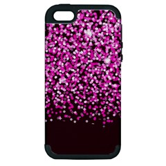 Pink Glitter Rain Apple Iphone 5 Hardshell Case (pc+silicone) by KirstenStar