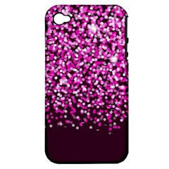 Pink Glitter Rain Apple Iphone 4/4s Hardshell Case (pc+silicone) by KirstenStar