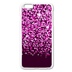 Pink Glitter Rain Apple Iphone 6 Plus/6s Plus Enamel White Case