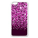 Pink Glitter Rain Apple iPhone 6 Plus/6S Plus Enamel White Case Front