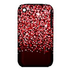 Red Glitter Rain Apple Iphone 3g/3gs Hardshell Case (pc+silicone) by KirstenStar