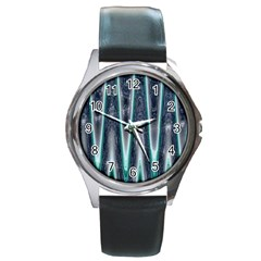 Blue Turquoise Zigzag Pattern Round Metal Watch by BrightVibesDesign